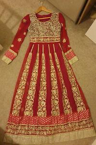 Pink Womens Indian Pakistani Asian Dress Wedding Evening Party Size 8-10