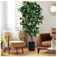 Artificial Plant Potted Ficus Silk Leaf Tree Indoor Out Fake Faux Plant Turf 6FT