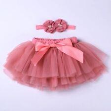 Baby Girl Tutu Skirt Newborn Outfit Headband Diaper Cover Rosado 6 Meses