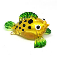 Hand Blown Glass Green Puffer Fish Figurine Aquarium Handicraft Miniature Gift