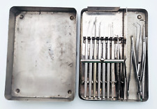 Vintage Cataract Surgery Set and Case 13 Instruments Stainless Steel 1940s 1950s