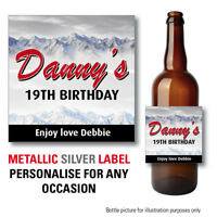 4 METALLIC SILVER Personalised Novelty Lager/Beer Bottle Labels Perfect Gift 138