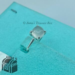 Tiffany & Co. 925 Silver Moonstone Cabochon Sugar Stack Ring Sz. 4.5 (pouch)