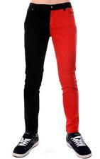 Para Hombre Negro y Rojo Split Leg Jeans Ajustados