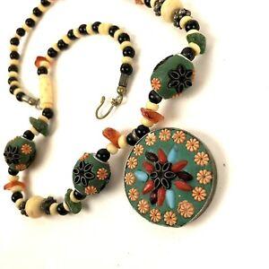 Vtg Artisan Necklace handmade polished Stone glass beads Clay bovine bone floral