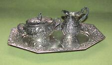 Milch Zucker Tablett 800er Silber -Puttos u. Rosen- ca. 1889