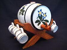 Vintage Handarbeit Ceramic Porcelain Whiskey Barrel, Cups and Stand