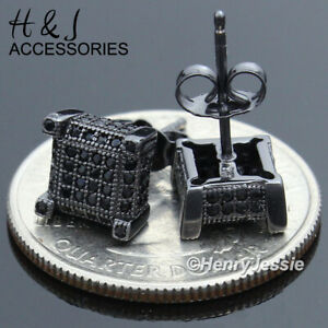 MEN 925 STERLING SILVER 7X7MM ICY BLING BLACK CZ SQUARE STUD EARRING*ABE90