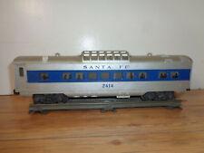 LIONEL O GAUGE # 2414 SANTA FE BLUE STRIPE LIGHTED DOME CAR