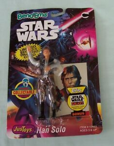 Star Wars Bend-Ems Han Solo on card Justoys with trading card #12453 c1993