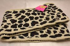 NEW! NWT BETSEY JOHNSON Ivory Cheetah Knit Infinity Scarf Muffler Wrap