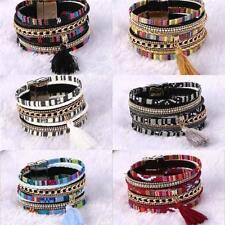 Rhinestone Leather Alloy Bangle Costume Bracelets
