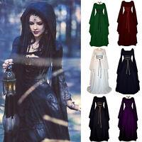 Karneval Party Kostüm Damen Vintage Gotik Mittelalter Maxi Kleid Fasching Gown A