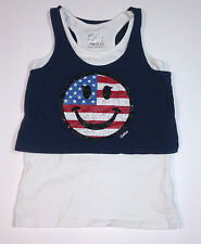 Justice Girls Tank Top Size 10 America White Blue Happy Face Flag