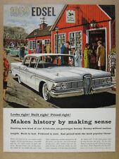 1959 Edsel Sedan white car illustration art vintage print Ad