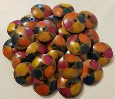 Lot of 25 Painted Wood Flat Round Disc African Tribal Jewelry Craft Beads 38mm