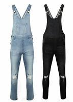 Women's Ladies Dungaree Gina Denim Jeans Full Slim Fit Ripped Knee Wash Jumpsuit