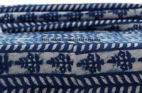 5 Yard Indian 100% Cotton Sanganeri Indigo Blue Printed Hand Block Print Fabric