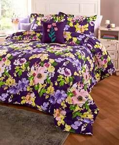 4-Pc. King Cassidy Floral Comforter Set Colorful Spring Flowers Comforter Set