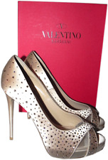 Valentino Crystals Swarovski Coated Platform Pump Blush Satin Shoe 39 -8.5