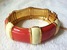 J.CREW JEWELRY NEW Coral Red Enamel Stripe Gold Hinged Bangle Bracelet $88 JCREW