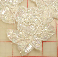 "Gorgeous applique with 5 pearl white flowers AB sequins leaves and petals 10""x8"""