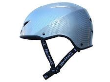 HardnutZ Street BMX Helmet Silver Carbon Fibre Skateboard Scooter Adults Kids