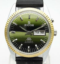 Vintage Ricoh Automatic 21J Cal R31 Day Date Steel Japan Made Men's Wrist Watch