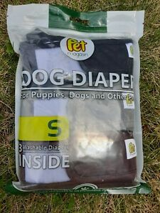New Sealed Pet Magasin SMALL Washable Reusable Dog Diapers 3pk Black Brown Grey