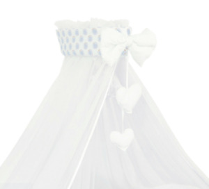 Baby Drape Canopy Mosquito Net with Ribbon ONLY Fits Crib/Cradle Big teddy blue