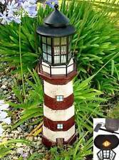 "35"" Solar Lighthouse Garden Figurine Light, Red & Ivory Color"