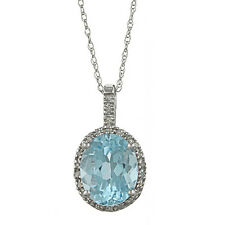 10k White Gold 3.6cttw Oval Blue Topaz and Diamond Pendant Necklace