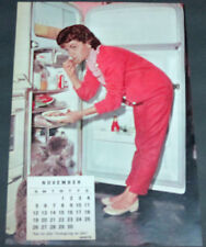 1961 2 SIDED PINUP CALENDAR PAGE, TONY CURTIS, ANNETTE FUNICELLO