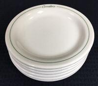 "Carrabba's Restaurant Ware 6 Green Stripe Bread Plates Niagara China 5 5/8"" USA"