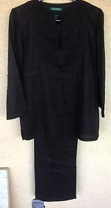 Lauren Black Linen 2 Piece Pant Outfit Embellished Top Black on Black  M