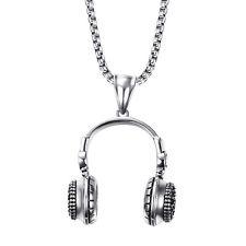 Herren Halskette mit Anhänger Kopfhörer 58 cm Edelstahl 316L Musik