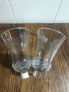 """(2)  Vintage Clear Glass Peg Sconce Candle Holders Ribbed Swag 5.5"""""""