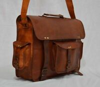 New Real genuine leather messenger laptop cross body satchel brown bag briefcase