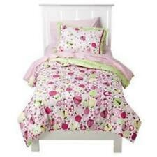 Circo LADYBUGS 3PC FULL QUEEN COMFORTER SHAMS GIRLS PINK FLOWERS LIME GREEN