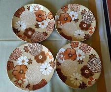 4 RARE Vintage ROYAL CHINA HAWAIIAN FLOWERS DINNER PLATES LUAU ORANGE TIKI BAR