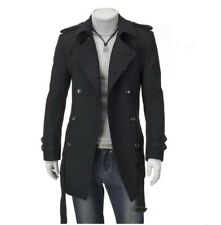 Men Long Woolen Trench Coat Korean Slim fit Autumn Double Breasted Outerwear New