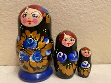 Russian Nesting Dolls Beautiful Blue and Red Flowers! 3 pcs! Nice Gift!