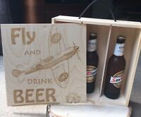 Wooden 3 Beer Bottle Gift Box - Aircraft Design Spitfire, DC-3 Dakota, Lancaster