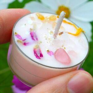 Oneness TEALIGHT candle rose quartz citrine essential lavender crystal self-love
