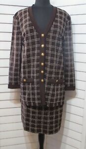 St. John COLLECTION MARY GRAY KNIT PLAID SUIT JACKET SKIRT CHOCOLATE BROWN 14/12