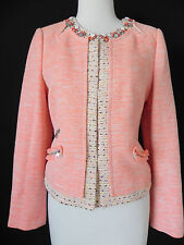 New Mcginn Blazer/Jacket Jeweled Trim tweed Slim Cut Size 6 Coral