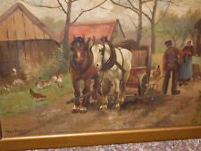 Antique painting 1908 by Thos Farray oil on canvas farm people horses chicken