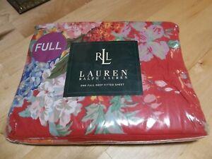 New Lauren Ralph Lauren Red Beach House Fuchsia Deep Pocket FULL  FITTED  SHEET
