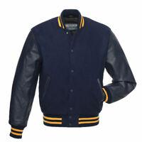 New Mens Classic Letterman Varsity Bomber Genuine Cowhide Leather & Wool Jacket