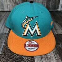 9FIFTY MIAMI MARLINS SNAPBACK BASEBALL CAP HAT TEAL ORANGE NEW ERA MLB SPELL OUT